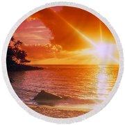 Lumahai Beach Sunset Round Beach Towel