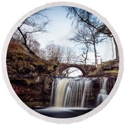 Lumb Falls Panoramic Round Beach Towel