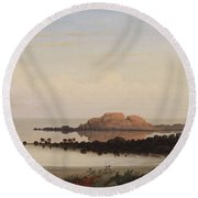 Lumber Schooners At Evening On Penobscot Bay By Fitz Henry Lane, 1863 By Fitz Henry Lane Round Beach Towel