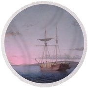 Lumber Schooners At Evening On Penobscot Bay By Fitz Henry Lane, 1863 Round Beach Towel