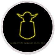 Luminous Yoda Round Beach Towel