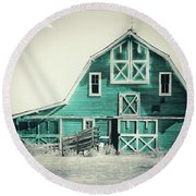 Luna Barn Teal Round Beach Towel