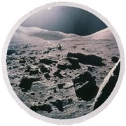 Lunar Rover At Rim Of Camelot Crater Round Beach Towel by NASA / Science Source