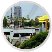 Lunch At The Pier Round Beach Towel