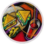 Lunch Round Beach Towel by Leon Zernitsky