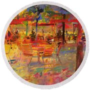 Lunch On The Terrace Round Beach Towel