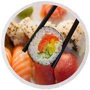 Lunch With  Sushi  Round Beach Towel