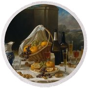 Luncheon Still Life, At And By John F. Francis Round Beach Towel