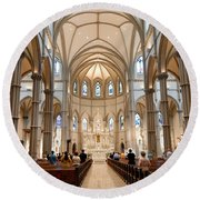 Lunchtime Mass At Saint Paul Cathedral Pittsburgh Pa Round Beach Towel