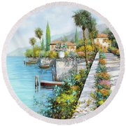 Lungolago Round Beach Towel by Guido Borelli