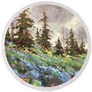 Lupines And Bluebells Round Beach Towel