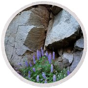 Lupines And Rock Face Round Beach Towel