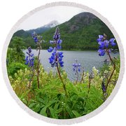 Lupines And Water Round Beach Towel