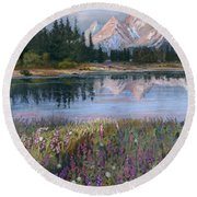 Lupines At Pilgrim Creek Round Beach Towel