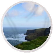 Lush Green Grass Along The Top Of The Cliffs Of Moher Round Beach Towel