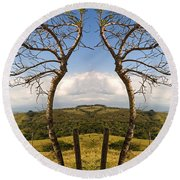 Lush Land Leafless Trees IIi Round Beach Towel