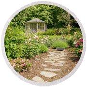 Lush Landscaped Garden Round Beach Towel