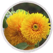 Lush Sunflowers Round Beach Towel