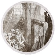 Luther Preaching In The Old Wooden Church At Wittemberg Round Beach Towel