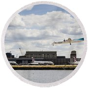Lux Air London City Airport Round Beach Towel