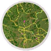 Luxembourg Green Traffic Map, Abstract Europe Map Round Beach Towel