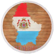 Luxembourg Rustic Map On Wood Round Beach Towel