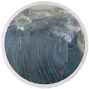 Luxembourg Station Round Beach Towel by Henri Ottmann