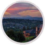 Luxury Homes In Happy Valley Oregon Round Beach Towel