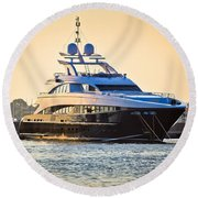 Luxury Yacht On Golen Sunset Round Beach Towel
