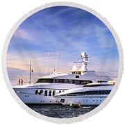 Luxury Yachts Round Beach Towel