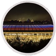 Luzhniki Stadium At Summer Night Against The Background Of The Ministry Of Foreign Affairs, The Cath Round Beach Towel