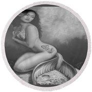 Lydia The Tattooed Mermaid In Black And White Round Beach Towel