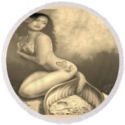 Lydia The Tattooed Mermaid In Sepia Round Beach Towel
