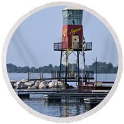 Lyman Harbor Lighthouse Round Beach Towel