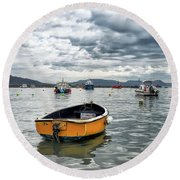 Lyme Regis Harbour - March Round Beach Towel