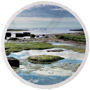 Lyme Regis Seascape 4 - October Round Beach Towel