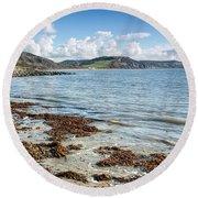 Lyme Regis Seascape 5 - October Round Beach Towel