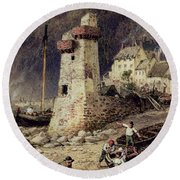 Lynmouth In Devonshire Round Beach Towel by Myles Birket Foster