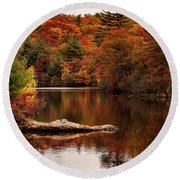 Lynn Woods Birch Pond Fall Colors Round Beach Towel