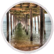 Lynnhaven Fishing Pier, Pillars To The Sea Round Beach Towel