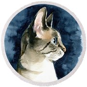 Lynx Point Cat Portrait Round Beach Towel