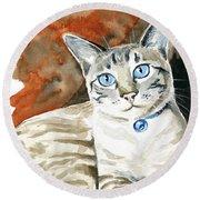 Lynx Point Siamese Cat Painting Round Beach Towel