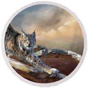 Lynx Spirit Round Beach Towel
