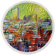 Lyon Sunrise Glow - Modern Impressionist Stylized Cityscape Round Beach Towel