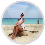 M And S Round Beach Towel