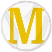 M In Mustard Typewriter Style Round Beach Towel