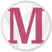 M In Pink Typewriter Style Round Beach Towel