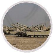 M1 Abrams Tanks At Camp Warhorse Round Beach Towel