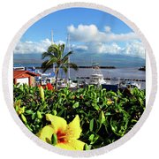 Maalaea Boat Harbor Round Beach Towel