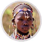 Maasai Beauty Round Beach Towel